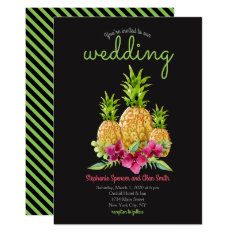 Pineapple Orchids Ferns Tropical Wedding Card at Zazzle