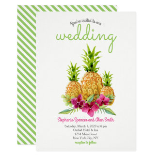 Pineapple Orchids Ferns Tropical Wedding Card