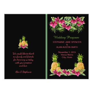 Pineapple Orchids Ferns Tropical Wedding Program