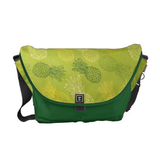 Pineapple Outline Pattern on Green Courier Bag