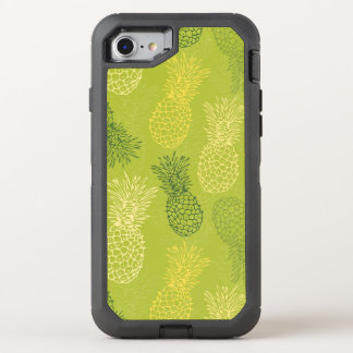 Pineapple Outline Pattern on Green OtterBox Defender iPhone 7 Case