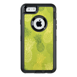 Pineapple Outline Pattern on Green OtterBox Defender iPhone Case