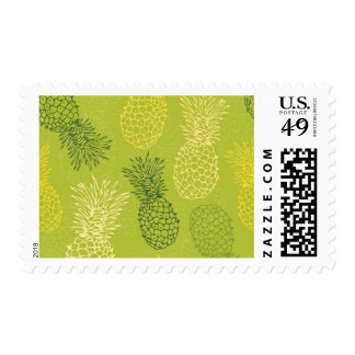 Pineapple Outline Pattern on Green Postage