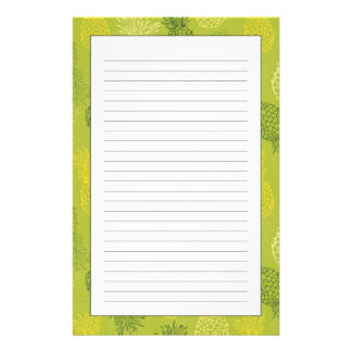 Pineapple Outline Pattern on Green Stationery