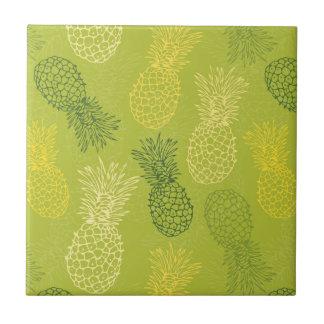 Pineapple Outline Pattern on Green Tile