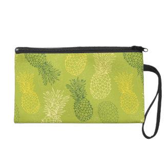 Pineapple Outline Pattern on Green Wristlet Purse