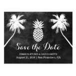 Pineapple Palm Tree Tropical Wedding Save the Date Postcard