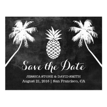 Beach Themed Pineapple Palm Tree Tropical Wedding Save the Date Postcard