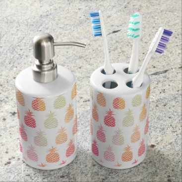 Beach Themed Pineapple Paradise Soap Dispenser & Toothbrush Holder