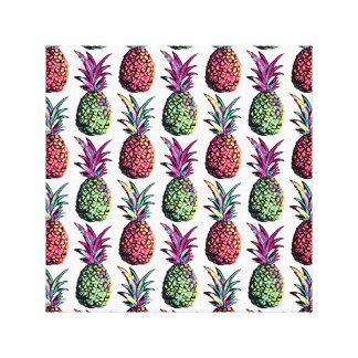 Pineapple Party Pattern Canvas Print