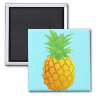 Pineapple Pattern on Blue 2 Inch Square Magnet