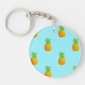Pineapple Pattern on Blue Double-Sided Round Acrylic Keychain