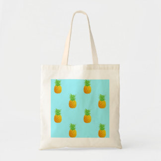 Pineapple Pattern on Blue Tote Bag