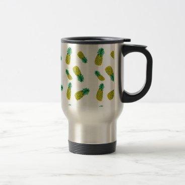 Coffee Themed Pineapple Pattern Travel Mug