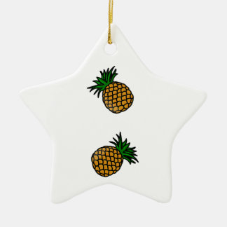 Pineapple Pattern Tropical Fruits Juice Fun Apple Ceramic Ornament