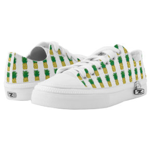 Pineapple Pattern White & Yellow Low-Top Sneakers