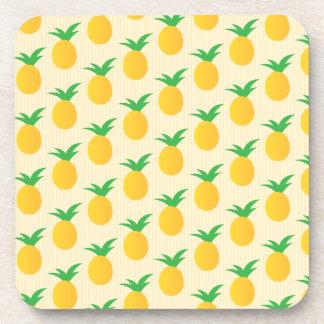 Pineapple Pattern Yellow Green Beverage Coaster