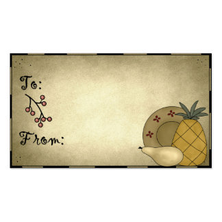Pineapple & Pear Prim Holiday Gift Tags Business Card