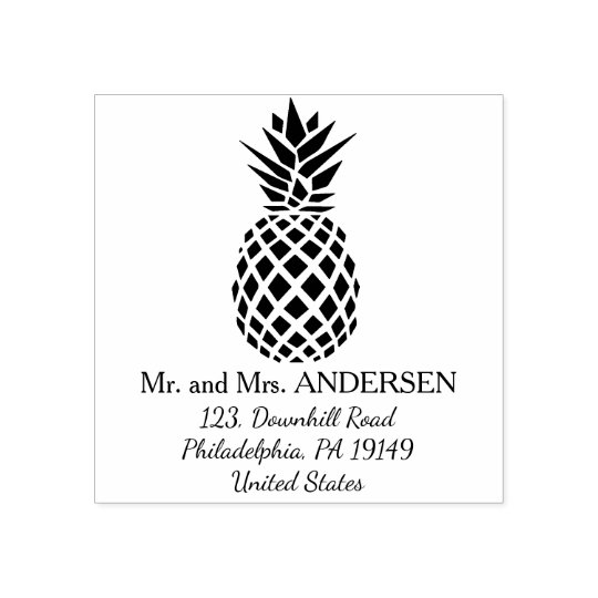 Pineapple personalised tropical wedding stamp