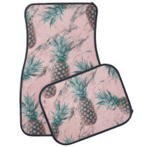 Pineapple & Pink Marble Swirl Modern Tropical Chic Car Mat