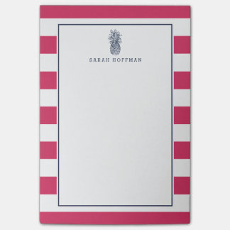 Pineapple Prep | Pink & Navy Personalized Post-it Notes