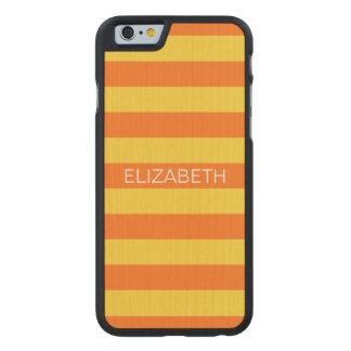 Pineapple Pumpkin Horiz Preppy Stripe Monogram Carved Maple iPhone 6 Slim Case