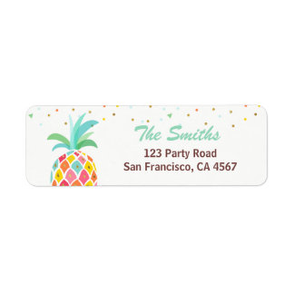 Pineapple Return Address Label Tropical Aloha Luau