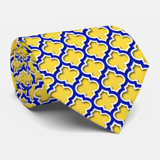 Pineapple Royal Blue Wht Moroccan Quatrefoil #5DS Neck Tie