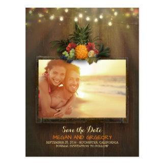Pineapple Rustic Beach Lights Photo Save the Date Postcard