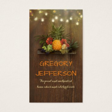 Beach Themed Pineapple Rustic Beach String Lights Tropical Business Card