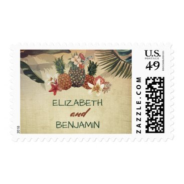 Beach Themed Pineapple Rustic Tropical Beach Wedding Postage