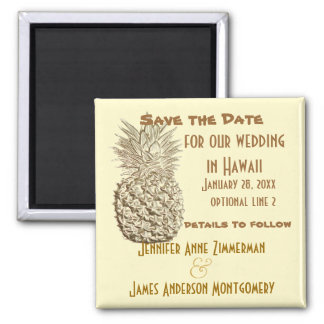 Pineapple Save the Date Classic Yellow Gold 2 Inch Square Magnet