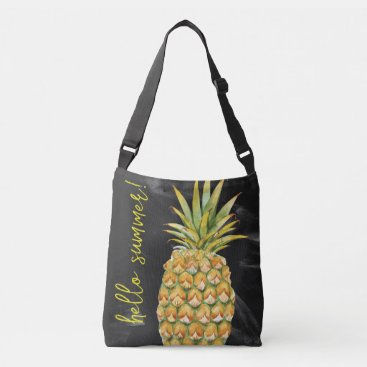 Beach Themed Pineapple/Sea Star large crossbody tote bag