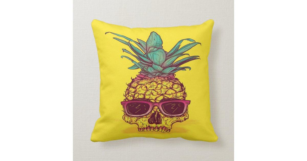 Pineapple Skull Head Throw Pillow Zazzle Com