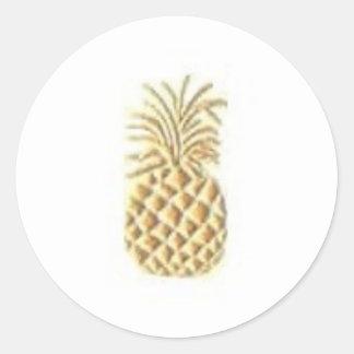 Pineapple Stamp Round Stickers