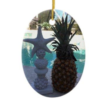 Pineapple Starfish Ceramic Ornament