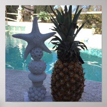 Art Themed Pineapple Starfish Poster
