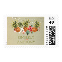pineapple tropical aloha beach wedding postage