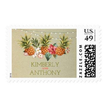 Beach Themed pineapple tropical aloha beach wedding postage