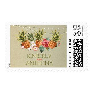 pineapple tropical aloha beach wedding postage