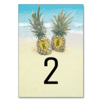 Pineapple Tropical Beach Destination Table Number