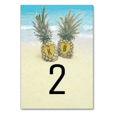 Valentines Themed Pineapple Tropical Beach Destination Table Number