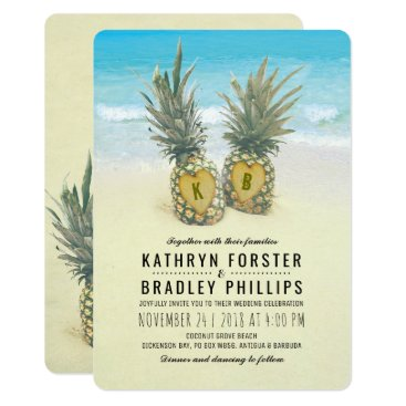 special_stationery Pineapple Tropical Beach Destination Wedding Card
