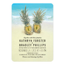 Pineapple Tropical Beach Destination Wedding Invitations