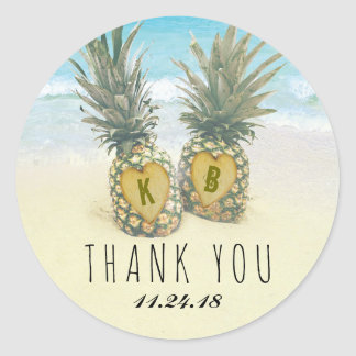Pineapple Tropical Beach Destination Wedding Favor Classic Round Sticker