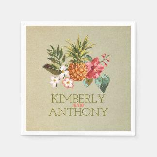 pineapple tropical beach destination wedding napkin