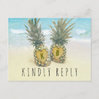 Pineapple Tropical Beach Destination Wedding RSVP Invitation Postcard