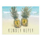 Pineapple Tropical Beach Destination Wedding RSVP Postcard