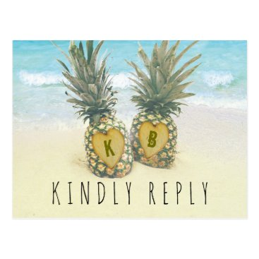 Beach Themed Pineapple Tropical Beach Destination Wedding RSVP Postcard
