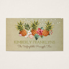 Pineapple Tropical Beach Summer Party Palms Business Card at Zazzle